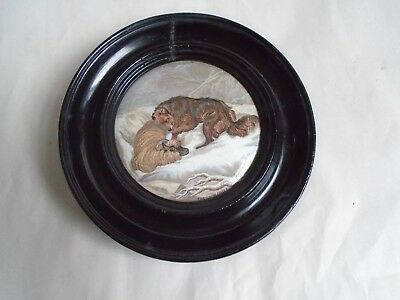 Framed Victorian Prattware Pot Lid @The Snow Drift' With Wolf & Sheep