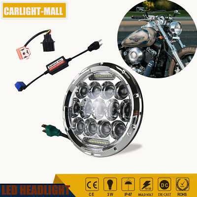 7 Inch Round 75W DOT LED Headlight Assembly For Harley Davidson Motorcycle 1Pc