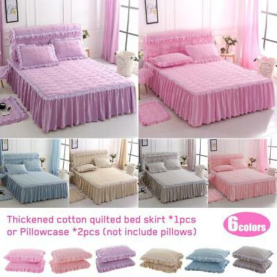 Washable Cotton Lace Quilted Single Queen Size Bed Skirt Bed Skirt /Pillowcase