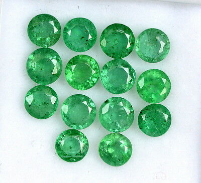 Natural Emerald Round Cut 3.50 mm Lot 10 Pcs 1.79 Cts Untreated Loose Gemstones