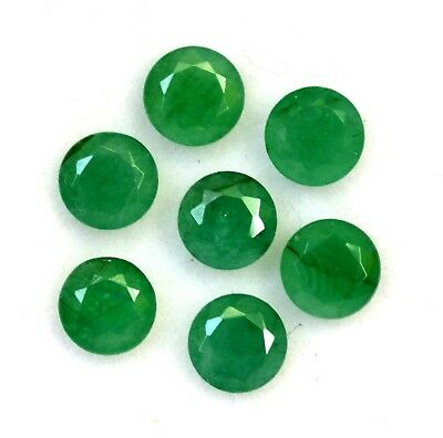 3.56 Cts Natural Emerald Round Cut 5 mm Lot 07 Pcs Untreated Loose Gemstones