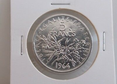 "France 1964 Silver Coin 5 Francs ""uncirculated"""