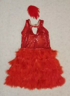 Weissman dance costume LA red sequins feathers hairpiece sty 7181 girls read des