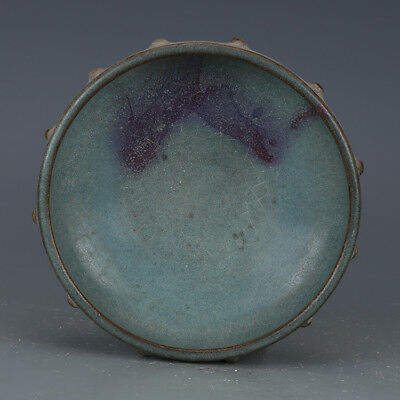 "7"" China old antique Porcelain Song Jun Kiln Sky Blue Glaze Fambe Brush Washer"