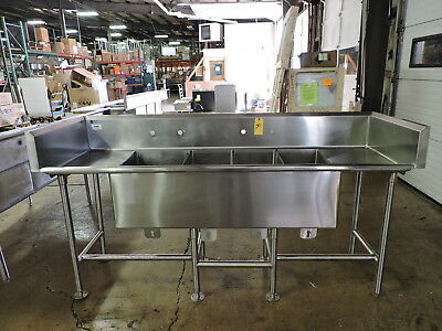 Commercial Stainless Steel 4-Compartment Sink w/ 2 Drainboards and Backsplash
