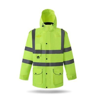 reflective cotton clothing construction work safety weather jacket removable sec