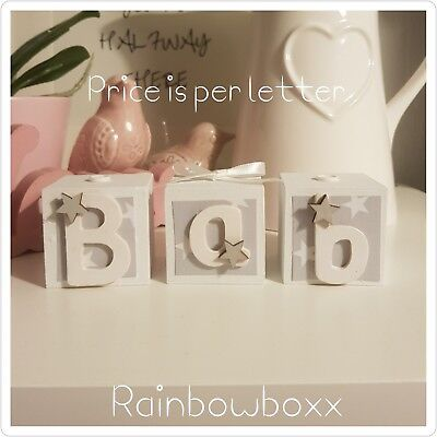☆Wooden hand painted personalised grey & white name blocks/cubes. Nursery decor