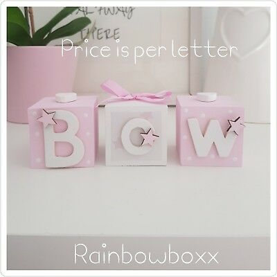♡ Wooden hand painted pink & white name blocks/cubes. Beautiful nursery decor ♡
