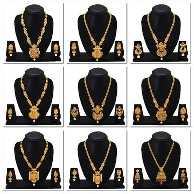 New Indian Traditional Fashion Long Gold Tone Ethnic Temple Jewelry Necklace Set