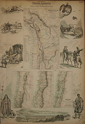 The West Coast Of South America, Chili, Peru And Bolivia By Fullarton 1874.