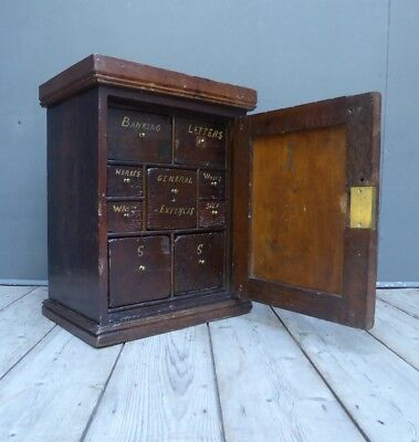Early Antique Period Oak Spice Cabinet Bank Of Drawers 1700's Vintage