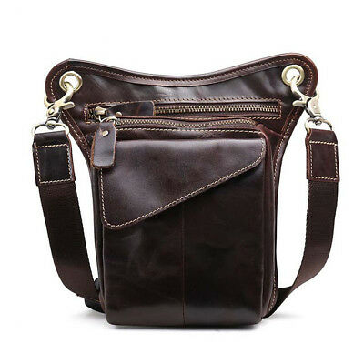 Oil Wax Leather Retro Soft Men Chest Bag Multifunction Vertical Waist Bag Zipper