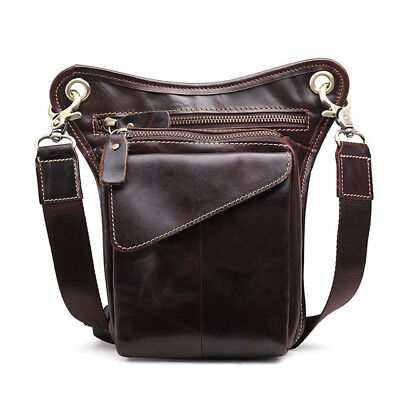 Oil Wax Leather Retro Men's Chest Bags Vertical Waist Pack Hip Pouch Belt Zipper
