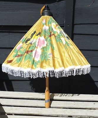 Vintage Thailand HAND PAINTED PARASOL , UMBRELLA Yellow Butterfly Fringed