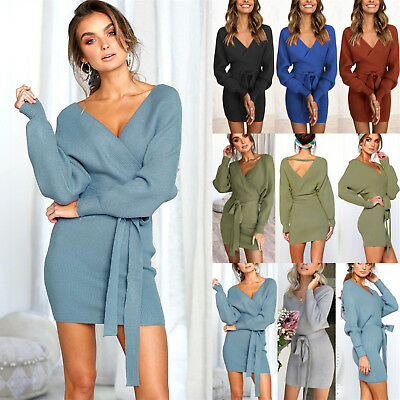 UK Womens Deep V Neck Belted Bodycon Knitted Sweater Ladies Casual Jumper Dress