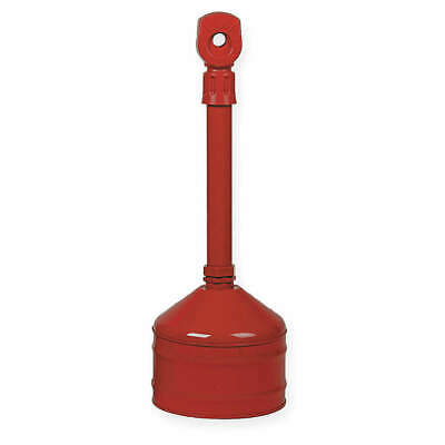 JUSTRITE Galvanized Steel Cigarette Receptacle,2-1/2 gal.,Red, 26810R, Red