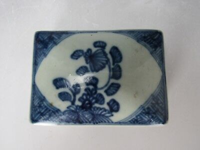 """Chinese antique Blue and White porcelain rectangle box 1.5"""" H"""
