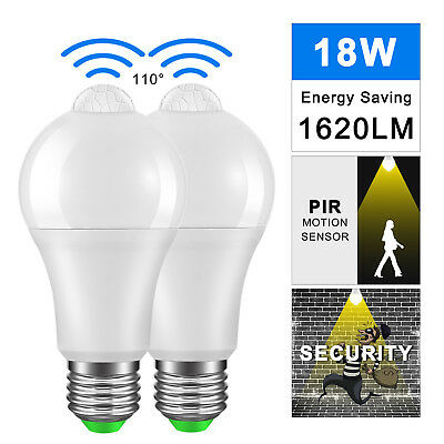 PIR Motion Sensor E27 12/18W LED Lamp Bulb Infrared Auto Energy Saving Light NEW