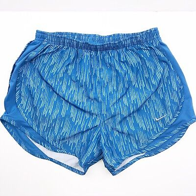 Nike Dri Fit Women Blue Printed Tempo Athletic Running Shorts Size Small
