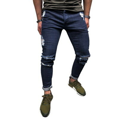 FL Herren Ripped Jeans Hose Slim Fit Denim Jogger Herrenhose Lang Pants trousers