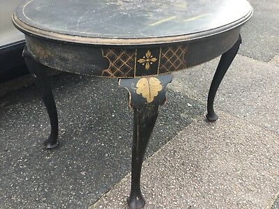 Oriental Occasional Table ~ Black Lacquered Solid Wood