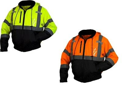 Pyramex RJ31 Class 3 Hi-Vis Weather Proof Hooded Bomber Jacket Pick Color M-5XL