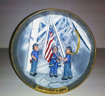Iconic plate Remembering September 11 2001 Firefighters Raising Flag Twin Towers