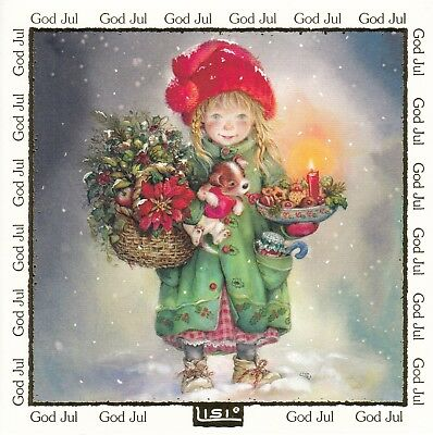 New double card by Lisi Martin, girl, flowers, Unicef, 100 % original card
