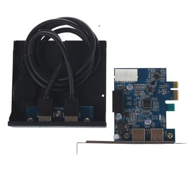 PCI Express PCI-E Karte 2 Port Hub Adapter + USB 3.0 Front Panel 5Gbps Hipeed IS