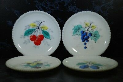 Vintage Westmoreland Hand Painted Milk Glass Fruit Plates Beaded Edge Set Of 4