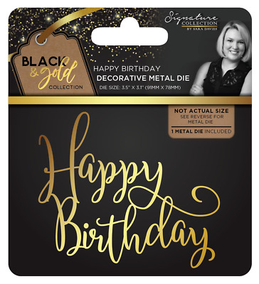 New Sara Davies Black and Gold Metal Die Happy Birthday