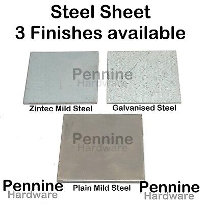 Galvanised, Zintec or Mild Steel Sheet Metal Plate 16 Sizes & 5 Gauges available
