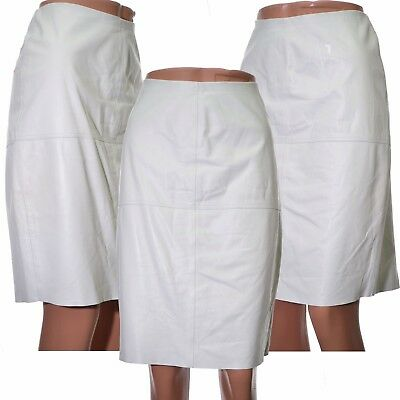 Marques Almeida for Topshop White Leather Pencil Skirt Knee Length Size 10