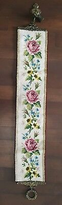 Vtg Needlepoint Bell Pull Floral Brass Victorian Tapestry Wall Hang With Bell