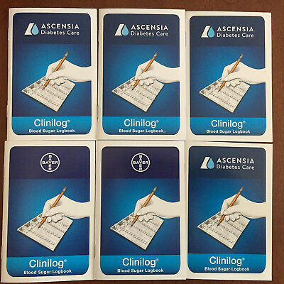 Bayer Ascensia CliniLog Self Testing Record Book Diary, 6 Logbooks