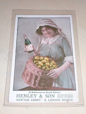 Early Original Advertising Pc - Henley & Son Cider Makers -Newton Abbot & London