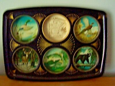 Vintage Souvenir Of Minnesota Metal Drinks Tray/carrier - Animals In The Wild