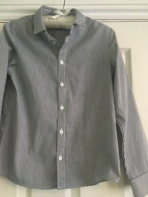 H&M boys blue stripy long sleeved shirt 9-10 years special occasion wedding