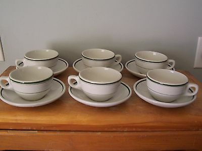 6 Sets Of Vintage Green Striped Restaurant Ware Cups And Saucers - Oddfellows