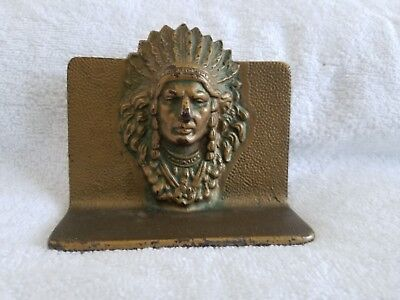 Vintage Cast Iron Bronze Plated American Indian Chief Bookend Nice Patina PS