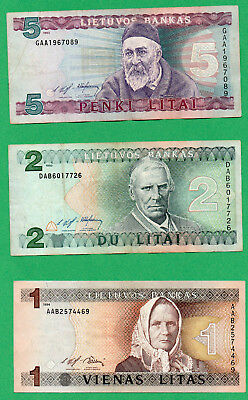 Lithuania 3 Banknotes 1, 2, 5 Litai Paper Money 1993 / 1994 Circulated (10)