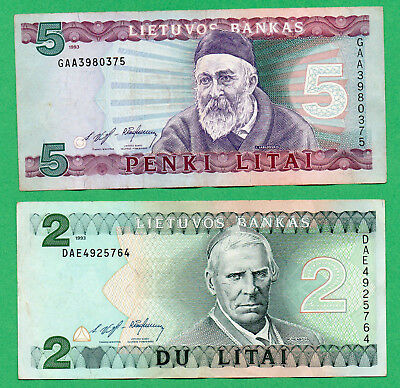 Lithuania 2 Banknotes  2 and 5 Litai Paper Money 1993  Circulated (1)