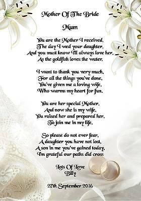 Wedding Day Thank You Gift Mother Of The Bride From Groom Poem A5 Photo