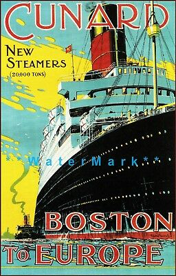 Cunard Line 1900 Boston To Europe New Steamers Ships Vintage Poster Print Art