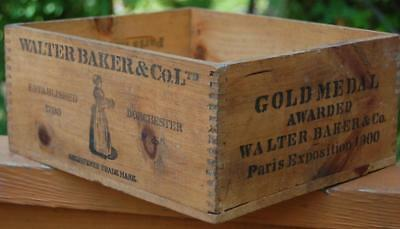 1900 Antique Walter Baker Cocoa Chocolate Advertising Wood Box Dorchester Ma.