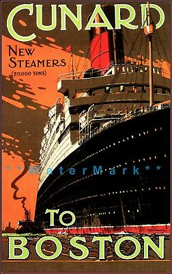 Cunard Ship Line 1930 New Steamers To Boston Vintage Poster Print Ocean Travel