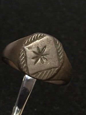 Ancient Roman Ring, Bronze Ring Depicting An Attractive Star,