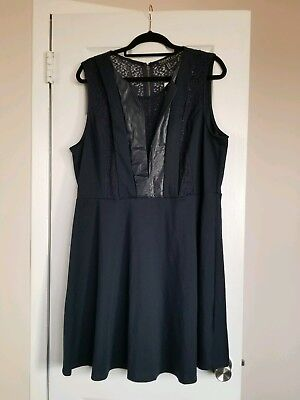 Forever21 Plus Size 3x Navy Lace Leather Detail Skater Dress Bnwt