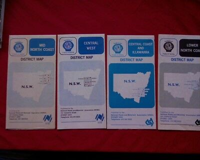 4 x vintage NRMA road maps of New South Wales, Australia Lot 1