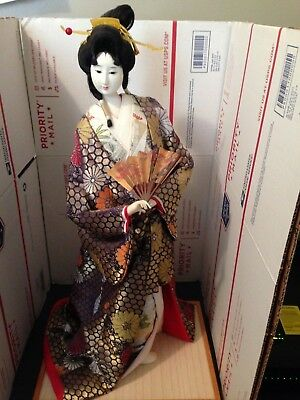 """Geisha Girl Japanese Vintage Doll - holding fan 19"""" tall to top of hair."""